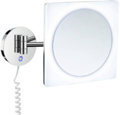 Vergrotingsspiegel Smedbo Outline Draaibaar met LED PMMA Dual Light Vierkant Chroom