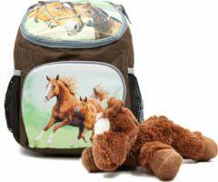 B&B Slagharen Rugzak Paard en Veulen - 30 x 21 x 11 cm - Bruin - Rugtas Meisjes - rugtas Jongens -incl Paarden knuffel - pluche Pony 22 cm - donker bruin