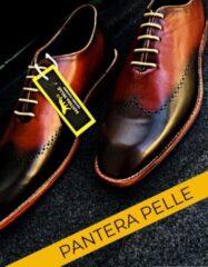 Pantera Pelle Leather Shoes Volledig Lederen Herenschoen, bruin cognac met zwart, maat 42
