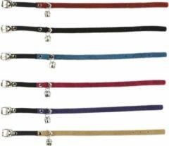Beeztees Suede kattenbandje met elastiek en bel - Zwart