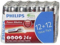 Rode Philips batterijen AAA Power Alkaline zilver/rood 24 stuks