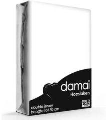 Witte Damai - Hoeslaken (tot 25 cm) - Double Jersey - 80/90 x 200/210/220 - 100 x 200 cm - White