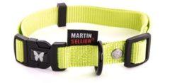 Groene Martin sellier halsband voor hond nylon groen verstelbaar 25 mmx45-65 cm
