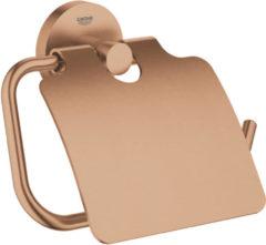 GROHE Essentials closetrolhouder met deksel - Sunset gold (mat brons)