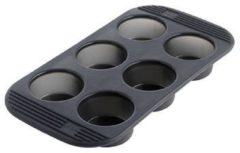 Grijze Mastrad Muffinvorm - Groot - Siliconen - Voor 6 stuks - Zwart