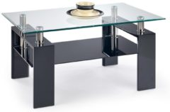 Transparante Home Style Glazen salontafel Diana H 110 cm breed in zwart
