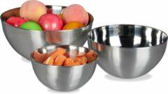 Zilveren Relaxdays Schalen set van 3 - mengkom - beslagkom - fruitschaal - saladeschaal - roestvrij