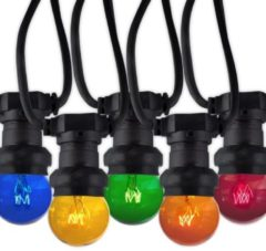 Groene Calex Party Light string 240V E27 10 lamp (ball) 15W Yellow/Red/Orange/Blue/Green String 575mtr with 45cm space