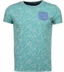 Groene T-shirt Korte Mouw Black Number Blader Motief Summer - T-Shirt