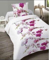 Roze Better Nights 100% Katoenen 1-Persoonsdekbedovertrek Orchidée 140x200 met 1 kussensloop 65x65
