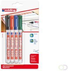 Edding permanent marker 400 blister van 4 stuks in geassorteerde kleuren