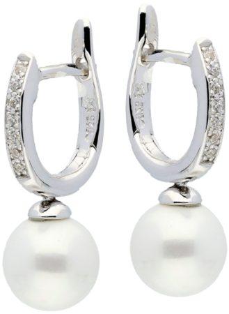 Afbeelding van Silver Lining klap-oorringen - zilver gerodineerd - zirkonia - witte zoetwaterparel - 12 x 2 mm