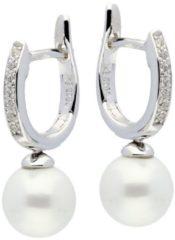 Silver Lining klap-oorringen - zilver gerodineerd - zirkonia - witte zoetwaterparel - 12 x 2 mm