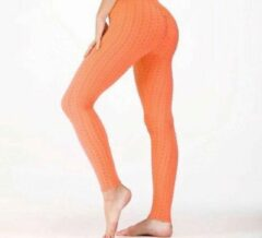 Sportlegging – Olamee – Anti Cellulite Legging - Absorberend - Yoga – Fitness – Vrije tijd - Scrunch Butt - High Waist - Gym Sports Wear – Elastisch – Tweede huid – Platte buik – A Kwaliteit – Rondere billen – Smallere taille - Oranje -L