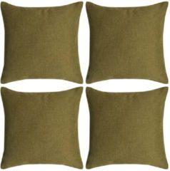 VidaXL Kussenhoezen 4 stuks linnen look groen 80x80 cm