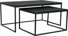 Raw Materials Mangohouten Salontafel Industrieel - Set van 2 - 90x60x45 cm - Zwart