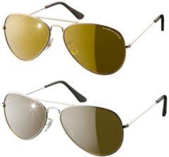 Eagle Eyes Aviator glasses, set van 2 – goud/zilver – piloten zonnenbril