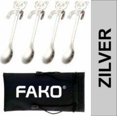 Fako Bijoux® - Theelepel / Koffielepel Hangende Beer - Zilver - 4 Stuks