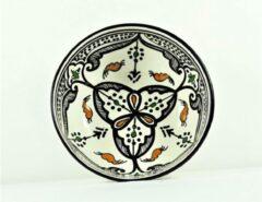 Witte Mystery Souk Handgemaakte en handbeschilderde authentieke Marokkaanse kom 16cm