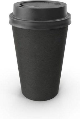 Afbeelding van Packadi Kartonnen Koffiebeker 8oz 240ml zwart + zwarte deksels - 100 Stuks - wegwerp papieren bekers - drank bekers - milieuvriendelijk