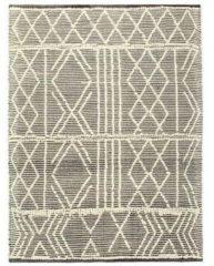 VidaXL Vloerkleed handgeweven 80x150 cm wol zwart en wit