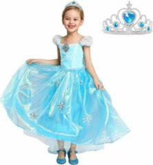 Blauwe Spaansejurk NL Elsa Frozen jurk Sneeuwvlok Luxe 120 met sleep + GRATIS ketting maat 116-122 Prinsessen jurk verkleedkleding