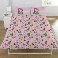 Emoji Dekbedovertrek Flamingo tweepersoons 200 x 200 cm + 2 kussenslopen 50 x 75 cm - Polycotton