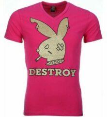 Roze T-shirt Korte Mouw Mascherano T-shirt - Destroy Print