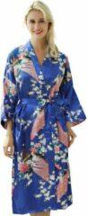 Spaansejurk NL Chinese Kimono badjas ochtendjas blauw satijn dames maat L