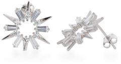 Classics&More Lovenotes oorknoppen ster - zilver - gerodineerd - zirkonia - 15 x 18 mm