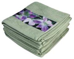 Cottonbelle Premium Handtuch 4er Set, Orchideenbordüre