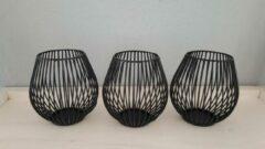 Thasth Design Set van 3 Theelichthouders - Zwart - Metaal - Bol