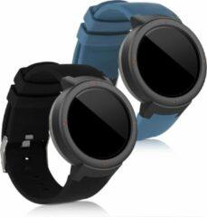 Kwmobile 2x horlogeband voor Huami Amazfit Verge - siliconen band voor fitnesstracker - blauwgrijs / zwart