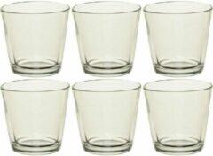 Merkloos / Sans marque 6x Theelichthouders/waxinelichthouders transparant glas 7 cm - Glazen kaarsenhouder voor waxinelichtjes 6 stuks