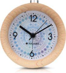 Nava® Nava© - Analoge houten wekker met snooze - retro klok rond met design wijzerplaat alarm licht - stille tafelklok zonder tikken - natuurlijk hout in lichtbruin
