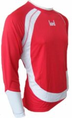 KWD Shirt Nuevo lange mouw - Rood/wit - Maat 128/140 - Pupil