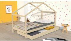Beige Autre KOALA Kinderbed met lade - Massief grenenhout - Naturel - Inclusief bedstructuur - 90x190cm