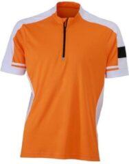 James & Nicholson James and Nicholson - Heren Fietsshirt met Halve Rits (Oranje)