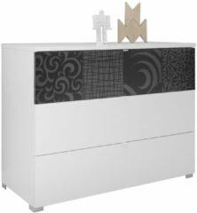 Antraciet-grijze Pesaro Mobilia Ladekast Perez 104 cm breed in mat wit met hoogglans antraciet