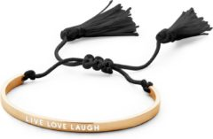 Zwarte CO88 Collection Inspirational 8CB 90143 Stalen Bangle met Tekst en Tassels - Live Love Laugh - One-size - Zilverkleurig