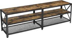 MIRA Home - Tv meubel - Tv meubel industrieel - Hout - Bruin/Zwart - 140x39.2x50