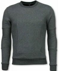 Grijze Sweaters Black Number 3D Ribbel Square Crewneck - Sweater
