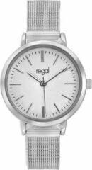 Witte Regal mesh horloge met zilverkleurige band