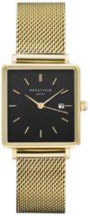 Rosefield Watches - The Boxy Dames Horloge | Zwart/Goud | Roestvrijstalen mesh band | Vierkant | Quartz uurwerk | Waterdicht | 3 ATM | Ø33mm