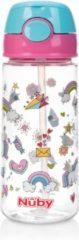 Nûby - Beker met Zacht Rietje en Drukknop uit Tritan™ - 530ml - Roze - Unicorns