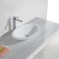 Witte Diamond Line Waskom Opbouw Mirella Ovaal 59x35x11cm Solid Surface Mat Wit