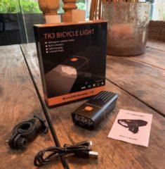 Zwarte RHRQuality Fietsverlichting Fietslamp voorlicht Usb oplaadbaar koplamp led fiets fietslampjes 1500L