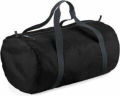 Bagbase Zwarte ronde polyester sporttas/weekendtas 32 liter - Sporttassen/gymtassen/weekendtassen voor volwassenen
