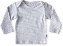 Little Label - baby - T-shirt - grijs, blauwe streepjes - maat 56 - bio-katoen