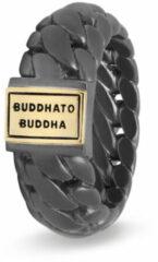 Donkergrijze Buddha to Buddha Ben ring van zilver met details van 18 karaat goud